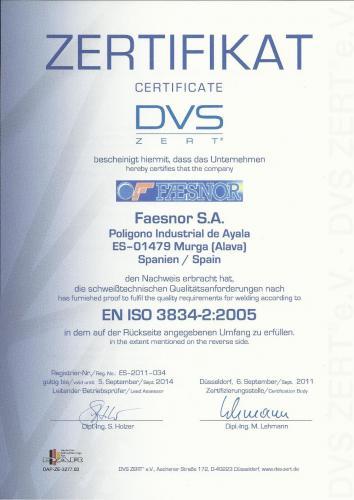 certificado EN ISO 38340001